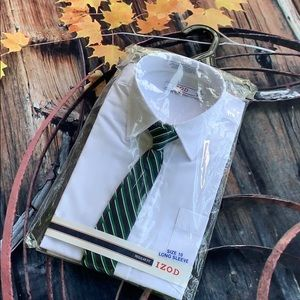IZOD White Long Sleeve Button Down with Tie
